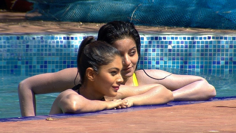 Mona and Lopa in the swimming pool