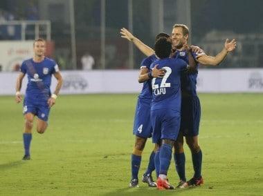 Mumbai City FC players celebrate Krisztian Vadocz goal against Chennaiyin FC. ISL