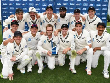 The New Zealand team with their trophy. Image credit: Twitter/@BLACKCAPS