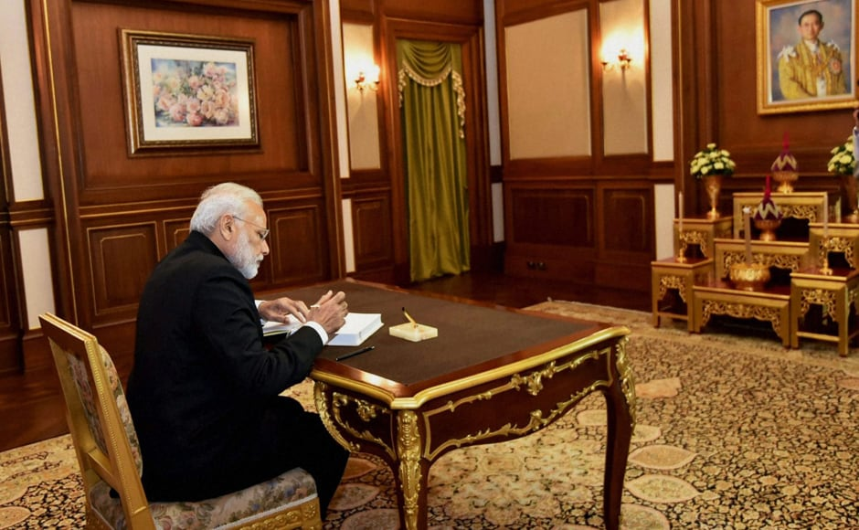 "PM Modi also inscribed ""a message of condolence at the Grand Palace in Bangkok"" while ""paying tributes to one of Asia's tallest leaders"". (Photo: PTI)"