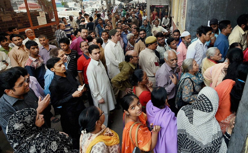 Similar scenes were witnessed in New Delhi as well as banks across country are witnessing heavy rush on the second day as people gathered to get new banknotes in exchange of old bills. PTI