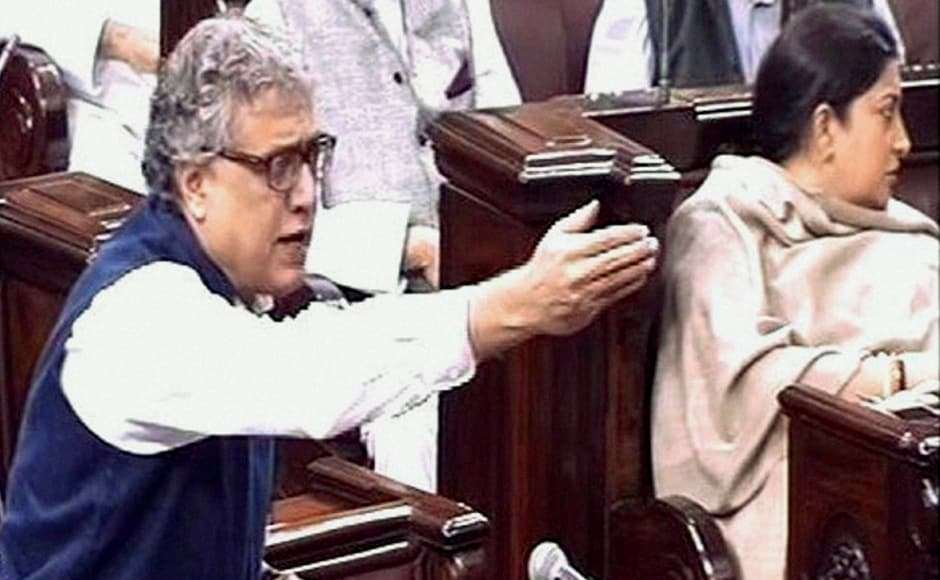 TMC member Derek O'Brien speaks in the Rajya Sabha on the opening of the winter session of Parliament in New Delhi on Wednesday. PTI Photo / TV GRAB (PTI11_16_2016_000058B)
