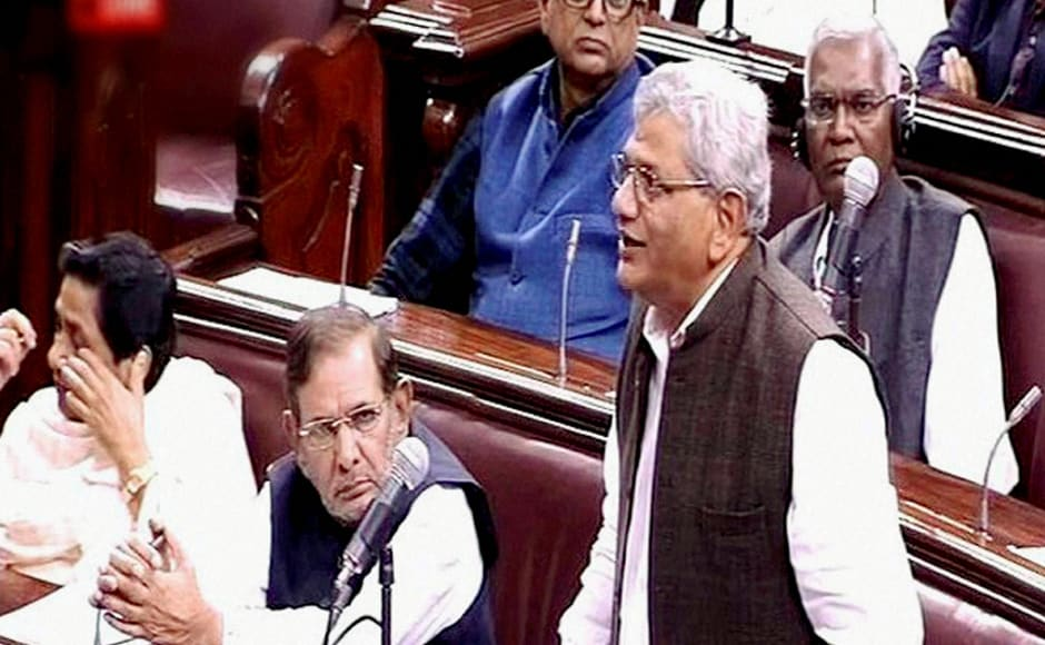 CPI(M) leader Sitaram Yechury speaks in the Rajya Sabha on the opening of the winter session of Parliament in New Delhi on Wednesday. PTI Photo / TV GRAB (PTI11_16_2016_000142B)