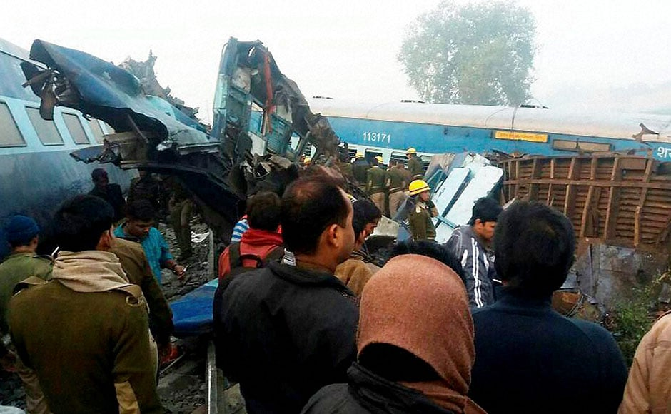 The horrific disaster took place when the Patna-bound train's coaches ran off the rails just after 3 am near Pukhraya station, about 60 km from Kanpur, railway and police officials said. PTI