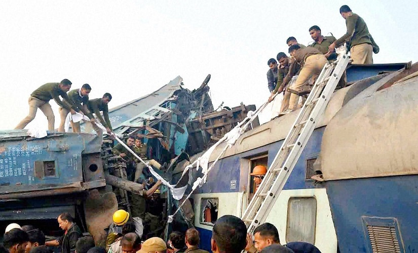Rescue and relief work in progress after the Indore-Patna Express derailed near Kanpur Dehat on Sunday morning. PTI