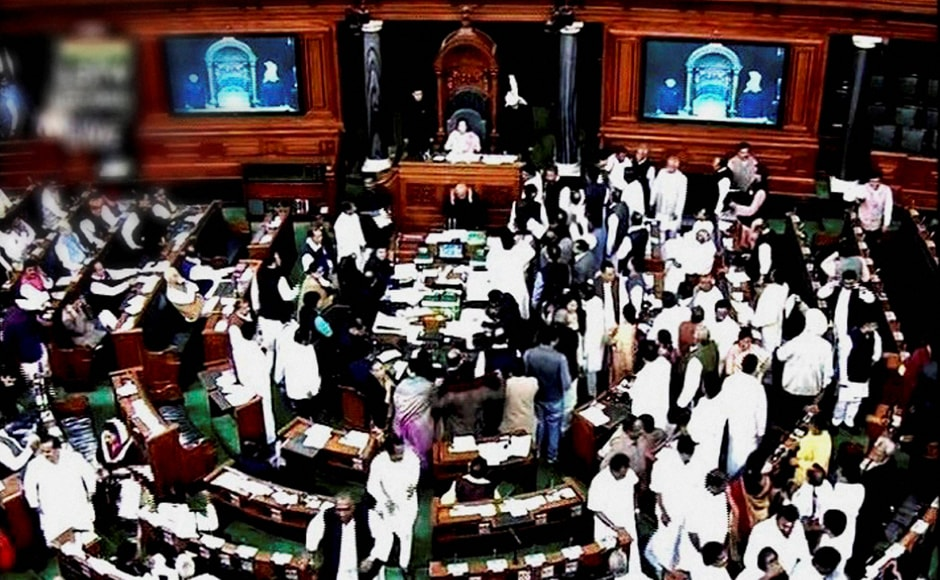 Opposition disrupted the proceedings of the Lok Sabha for the fourth consecutive day demanding discussion on demonetisation on a rule which entails voting forcing Speaker Sumitra Mahajan to adjourn the House . Mahajan tried to run the Question Hour amid the ruckus but finally the house had to be adjourned for the day. PTI