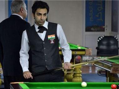 Pankaj Advani at the World Snooker Championship in Doha. IBSF