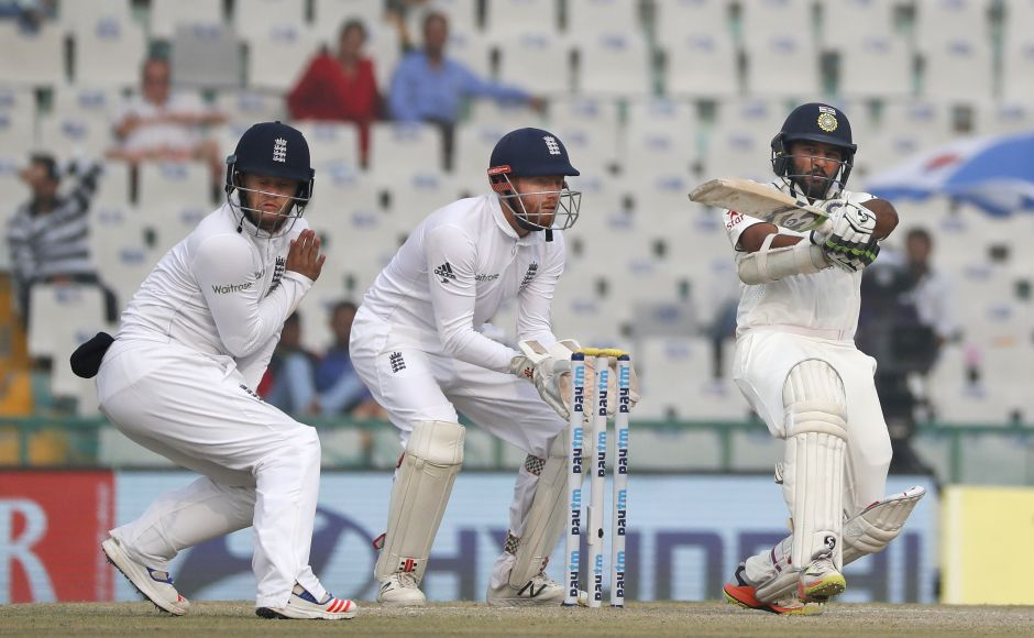 Parthiv Patel struck his fifth test half-century and spearheaded the short run-chase on Day 4. He was unbeaten on 67 runs at the end, facing 54 deliveries in all, hitting 11 fours and a six. (AP Photo/Altaf Qadri)
