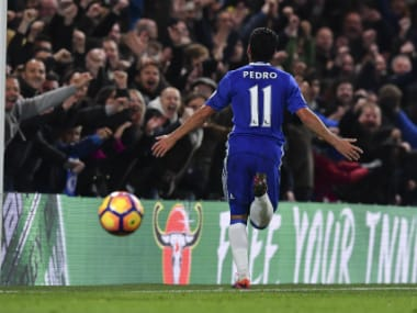 Pedro scored in Chelsea's 5-0 rout of Everton. AFP