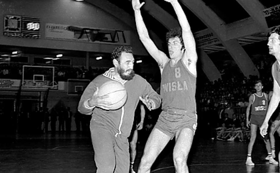 Fidel Castro plays basketball with university students in Krakow, Poland, on 8 June, 1972. An energetic symbol of defiance for developing countries and a driving force behind the Non-Aligned Movement, Castro proved even a small sovereign nation could thumb its nose at the world's biggest superpower. Reuters