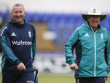 England coach Paul Farbrace and Head Coach Trevor Bayliss during a nets session. Reuters