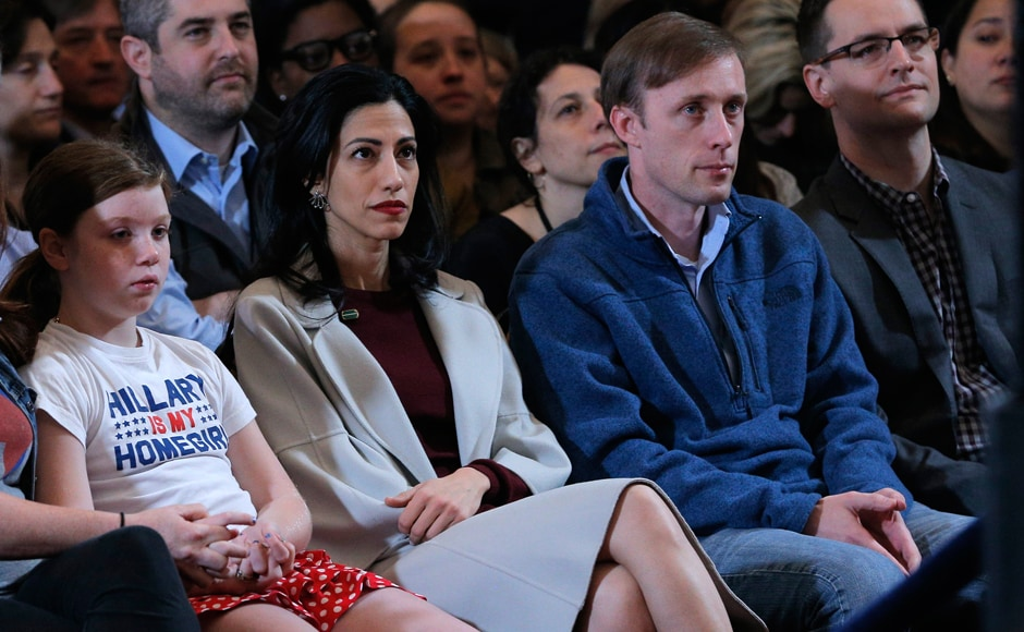 Clinton's top aide Huma Abedin was at the front row. The estranged wife of Anthony Weiner had been missing from Clinton's side since the FBI found new evidence in the Clinton email scandal. Reuters