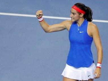 France's Caroline Garcia celebrates her victory against Czech Republic's Karolina Pliskova. Reuters