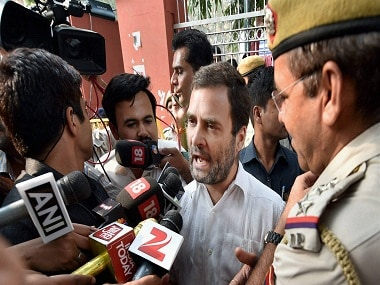 Congress vice-president Rahul Gandhi talks to the media outside RML Hospital after he was detained from entering the hospital to meet ex-serviceman Subedar Ram Kishan Grewal's family in New Delhi on Wednesday. (Photo: PTI)
