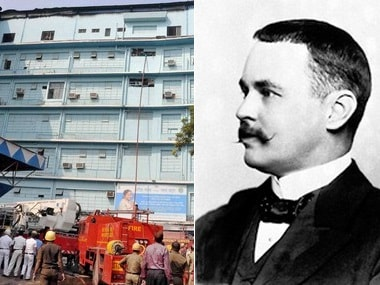Firefighters at SSKM hospital and Nobel Prize winner physician Ronald Ross. Image courtesy: PTI and Nobelprize.org