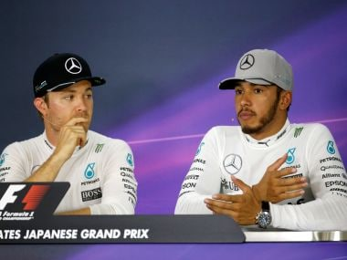 Mercedes' drivers Nico Rosberg and Lewis Hamilton. Reuters