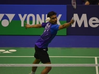 Sameer Verma of India in action at the Hong Kong Open. Image courtesy: hkopenbadminton.org