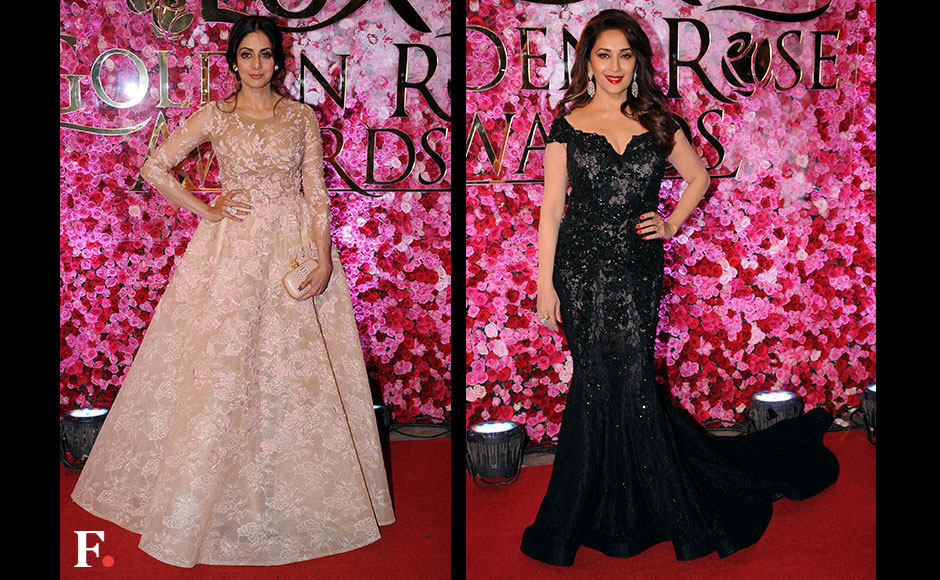 90's Bollywood divas Sridevi and Madhuri Dixit stunned crowds at the Lux Golden Rose Awards. FirstPost/ Sachin Gokhale