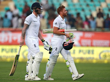 Ben Stokes, left, and Jonny Bairstow leave the ground at the end of 2nd day's play. AP