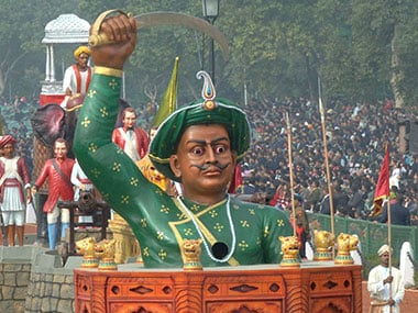 Tipu Sultan figurehead on a state float. File photo/PIB