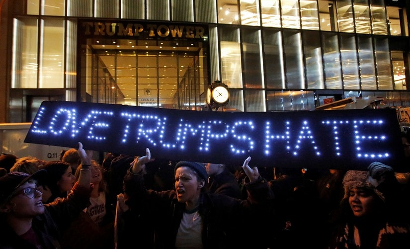 People protest outside Trump Tower following President-elect Donald Trump's election victory in Manhattan, New York. Reuters