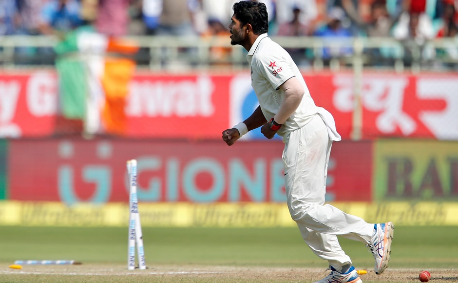 Umesh-Yadav-celebrates-after-shattering-Jonny-Bairstow's-stumps-just-before-lunch-AP