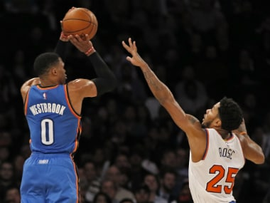 Russell Westbrook takes a shot during the match against the New York Knicks. AP