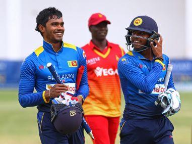 Sri Lanka celebrate their eight wicket win over Zimbabwe. AFP