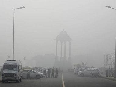 Streets of Delhi covered with smog. News18