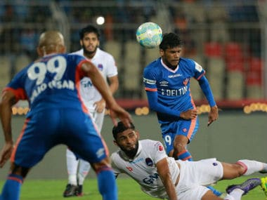 Action between Delhi Dynamos and FC Goa on Sunday. ISL