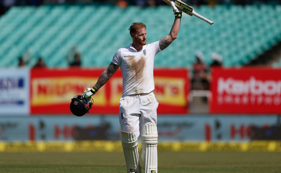 England batsman Ben Stokes raises his bat after scoring hundred on Day 2 of the 1st Test at Rajkot. AP