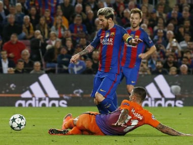 Barcelona's Lionel Messi in action against Manchester City in the Champions Trophy. Reuters