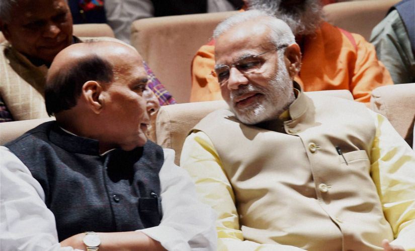 Prime Minister Narendra Modi with Home Minister Rajnath Singh at BJP Parliamentary Party meet. PTI