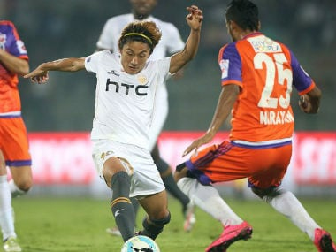 Action between NEUFC and FC Pune City at Guwahati. ISL
