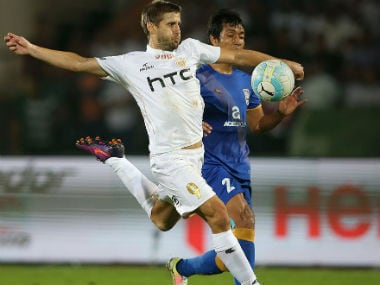 Action between NorthEast United and Mumbai City FC on in Guwahati. ISL