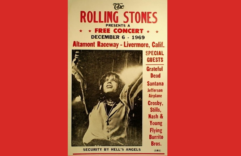 A poster of the Altamont Free Concert of 1969