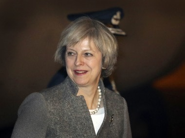Britain's Prime Minister Theresa May arrives in India. AP