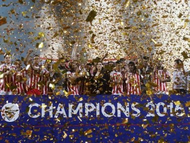 Atletico de Kolkata players celebrate after receiving the trophy. ISL