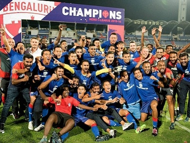 Bengaluru FC players celebrating their I-League title. PTI