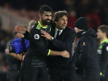 Diego Costa and Antonio Conte. Getty Images