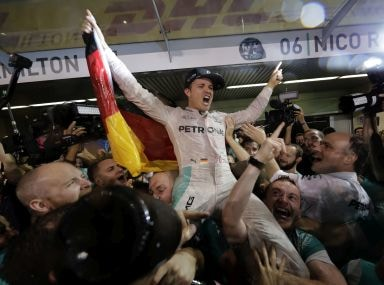 Nico Rosberg celebrates winning the World Championship. AP