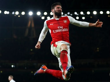 Arsenal's Olivier Giroud celebrates after scoring against West Bromwich Albion. Getty Images