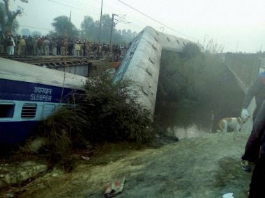 Rescue and relief works in progress at the site of accident where Ajmer-Sealdah express train derailed early on Wednesday near Rura railway station in Kanpur dehat district on Wednesday. PTI