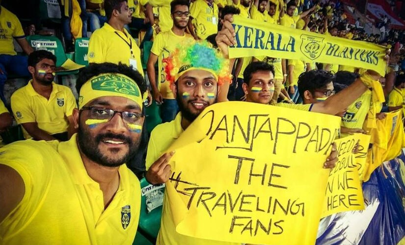 Manjapadda that translated to 'Yellow Army' also travel for the Blasters' away matches. Image courtesy: Facebook/Manjappada Fan Club