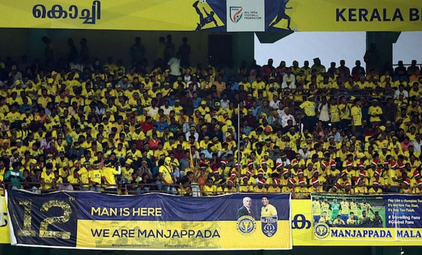 The Kerala crowd has certainly caught an eye and players and coaches from all over the league have acknowledged their fantastic support. Image courtesy: Facebook/Manjappada Fan Club