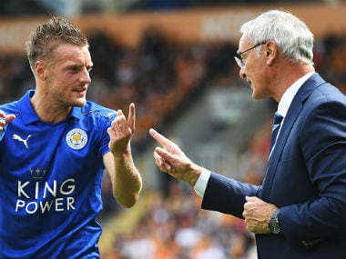 Leicester City coach Claudio Ranieri (R) with Jamie Vardy. Getty Images