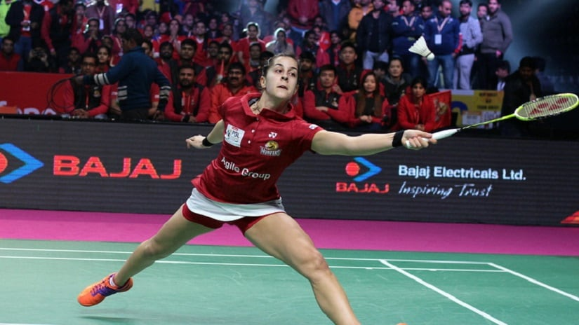 Carolina Marin of the Hyderabad Hunters in action in PBL. Image courtesy: pbl-india.com