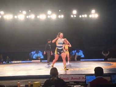 Erica Wiebe of the Mumbai Maharathi in action in PWL. Image courtesy: twitter.com/Official_PWL