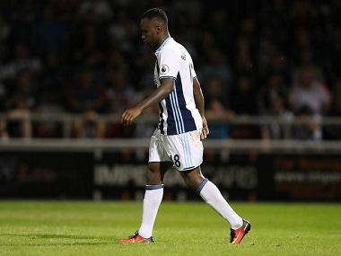 """Football Soccer Britain - Northampton Town v West Bromwich Albion - EFL Cup Second Round - Sixfields Stadium - 23/8/16 West Bromwich Albion's Saido Berahino looks dejected after missing a penalty in the shoot out Action Images via Reuters / John Clifton Livepic EDITORIAL USE ONLY. No use with unauthorized audio, video, data, fixture lists, club/league logos or """"live"""" services. Online in-match use limited to 45 images, no video emulation. No use in betting, games or single club/league/player publications. Please contact your account representative for further details."""