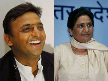 Former Uttar Pradesh CM Akhilesh Yadav and BSP chief Mayawati. Agencies